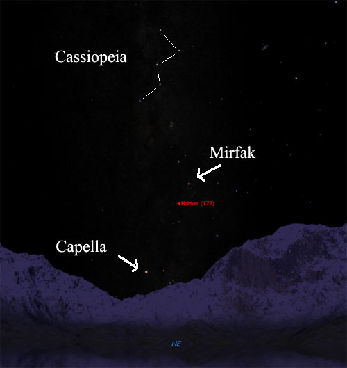map of the sky in the northeast near Comet Holmes, showing Cassiopeia, Mirfak, and the comet