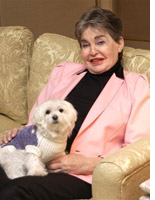 Leona Helmsley and her dog, Trouble.