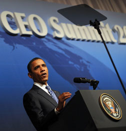 US President Barack Obama addresses the CEO Business Summit in Japan. Click image to expand.