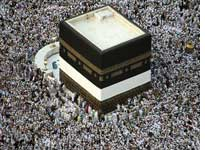 Muslim pilgrims perform the circumambulate of the Kaaba in the holy city of Mecca in Saudi Arabia. Click image to expand.