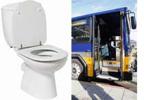 Photographs of: toilet by Stockbyte/Getty Images; bus by John A. Rizzo/Photodisc/Getty Images.