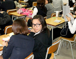 Kristin De Jesus in her South Korean classroom. Click image to expand.